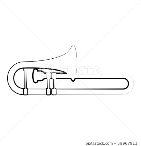 Isolated trombone outline. Musical instrument 38967913