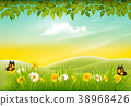 Spring nature landscape background with flowers 38968426