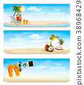 Tropical island with palms, a beach chair  38968429