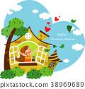 어린이, 집, 창문 38969689