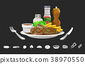 Steakhouse menu with ingredient icon. 38970550