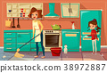 Vector cartoon mother daughter cleaning together 38972887