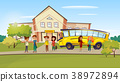 Vector cartoon teen kids near school bus 38972894