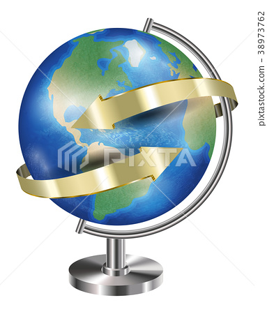 world earth planet globe with gold arrow around 38973762