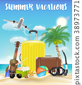 summer vacations with bag and beach travel object 38973771