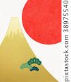 日本纸 - 富士山 - 背景 - 日出 - 金箔 - 现代 38975540
