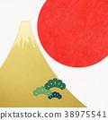 日本纸 - 富士山 - 背景 - 日出 - 金箔 - 现代 38975541
