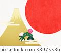 日本纸 - 富士山 - 背景 - 日出 - 金箔 - 现代 38975586