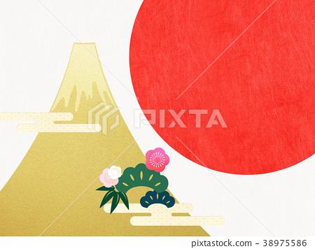 종이 - 후지산 - 배경 - 일출 - 금박 - 현대 38975586