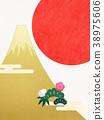 日本纸 - 富士山 - 背景 - 日出 - 金箔 - 现代 38975606