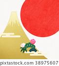 日本纸 - 富士山 - 背景 - 日出 - 金箔 - 现代 38975607