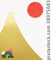 日本纸 - 富士山 - 背景 - 日出 - 金箔 - 现代 38975683