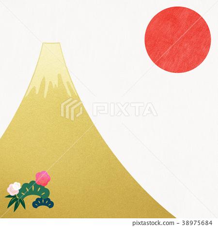 日本纸 - 富士山 - 背景 - 日出 - 金箔 - 现代 38975684