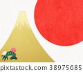 日本纸 - 富士山 - 背景 - 日出 - 金箔 - 现代 38975685