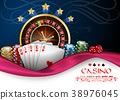 Background blue pink with casino roulette wheel, c 38976045