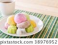 colorful dessert mochi 38976952