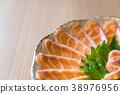 sliced salmon sashimi 38976956