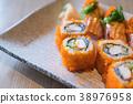 salmon sushi and salmon maki 38976958