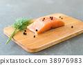 Fresh Salmon Fillet on board 38976983