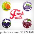 Fresh Fruits Icons 38977460