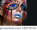 Beautiful girl with creative make-up in pop art 38978592