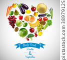 Heart of fruits and vegetables with blue ribbon 38979125