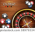 Casino Chips and Roulette Wheel 38979334