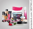 Sets of cosmetics on white background 38979612