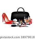Set of cosmetics background. Stylish girl 38979618