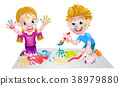 Kids Having Fun with Paints 38979880