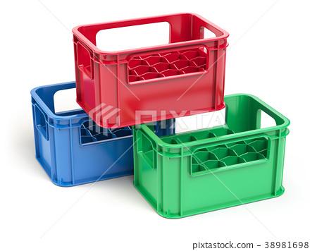 Empty Plastic Storage Crates For