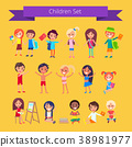 Children Set Isolated Illustration on Light Orange 38981977