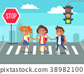 Kids Crossing Road in City Cartoon Illustration 38982100