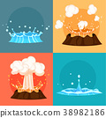 Concept of Blue Geyser and Red-hot Volcano Icons 38982186
