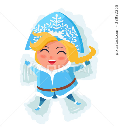Smiling Snow Maiden Laying in Snow Makes Figures 38982258