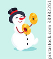 Snowman with Drum Cymbal Musical Instrument Icon 38982261