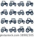 icon, tractor, vector 38982305