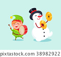 Cute Elf Playing on Drum Snowman with Cymbal Music 38982922
