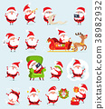 Santa Claus Icons Collection Vector Illustration 38982932