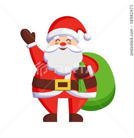 Santa Claus and Bag with Gifts Vector Illustration 38982971