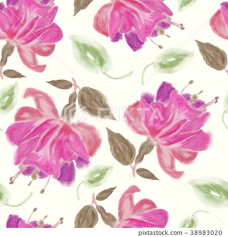 seamless   pattern of watercolor Fuchsia Flowers 38983020