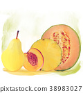 Fresh fruits watercolor 38983027