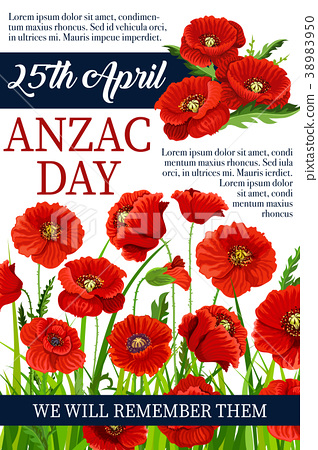 Anzac Day 25 April poppy vector war memory poster 38983950