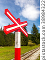 Sign of railroad crossing. 38984322