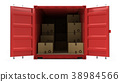 Open red cargo freight shipping container 38984566