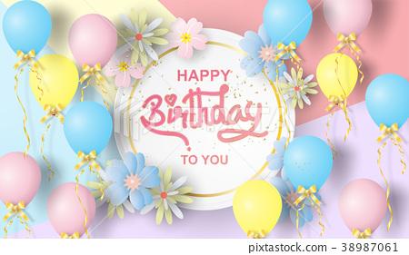 Paper art of Happy birthday elements background 38987061
