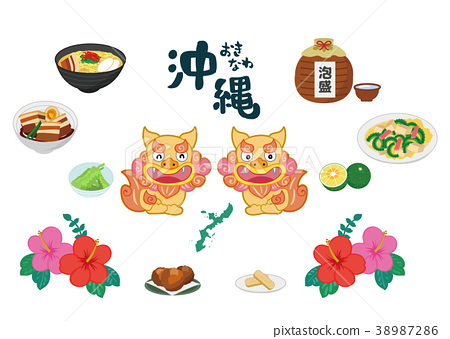 Okinawa's famous and famous icon illustration material set 38987286