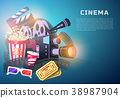 Movie elements set. Vintage cinema, entertainment 38987904