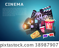 Movie elements set. Vintage cinema, entertainment 38987907