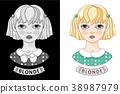 Cartoon blonde girl. Cute little teen. Vector 38987979